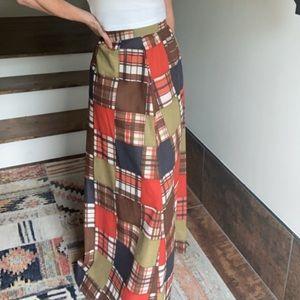 Vintage 70s handmade patchwork maxi skirt